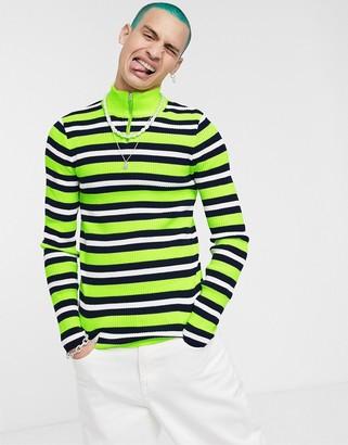 Asos DESIGN knitted half zip jumper in neon stripe