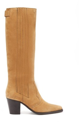 Ganni Square-toe Suede Knee-high Boots - Womens - Beige