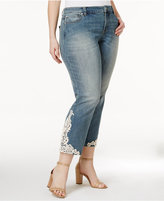 INC International Concepts Plus Size Lace-Applique Indigo Wash Cropped Jeans, Created for Macy's