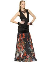 Roberto Cavalli Viscose Jersey & Techno Georgette Dress