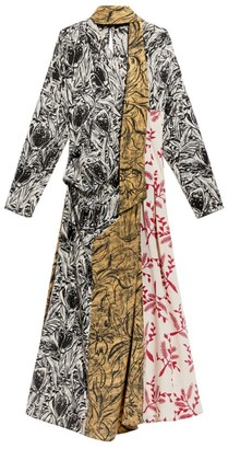 Max Mara Silk Patchwork Midi Dress