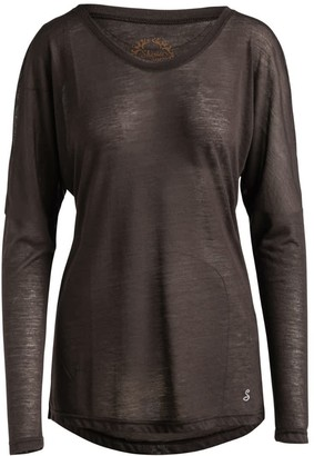 Conquista Brown Knit Top With Long Batwing Sleeves In Stretch Jersey Sustainable Fabric