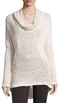 XCVI Diamante-Knit Cotton Sweater, Sugar, Plus Size