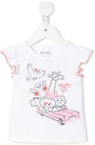 Kenzo animal car-print ruffle-cuff T-shirt
