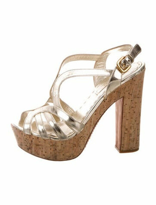 Prada Leather Sandals Gold