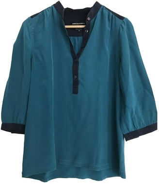 Vanessa Seward Turquoise Silk Top for Women