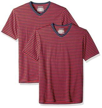 Amazon Essentials Slim-Fit Short-Sleeve Stripe V-Neck T-Shirts (Pack of 2) Medium