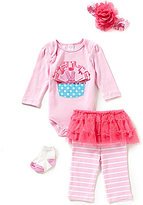 Starting Out Baby Girls Newborn-9 Months Cupcake-Appliqued 4-Piece Layette Set