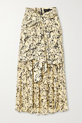 Proenza Schouler Layered Printed Chiffon Midi Skirt - Yellow