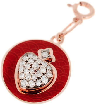 Selim Mouzannar Rusty Red Enamel and Diamond Heart Charm - Rose Gold