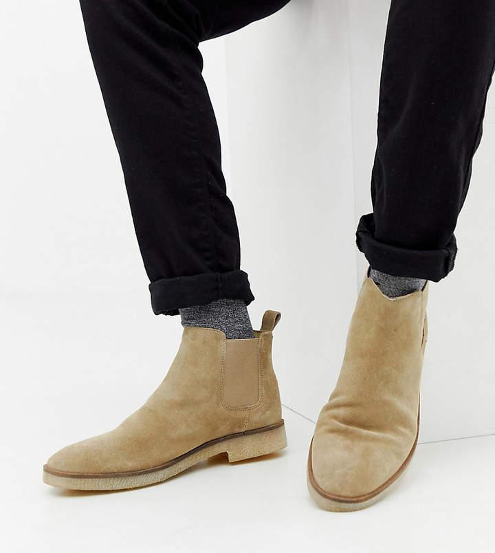 e656f320f31 Design DESIGN Wide Fit chelsea boots in stone suede with natural sole