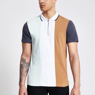 River Island White colour blocked half zip polo shirt