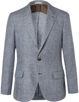 Brunello Cucinelli - Blue Prince Of Wales Checked Slub Linen Suit Jacket
