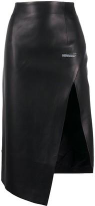 Off-White Asymmetric Slit Leather Skirt