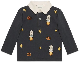 Gucci Baby cotton polo with rockets, stars and GG embroidery