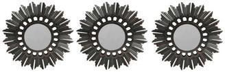 """Northlight Floral Sunburst Inspired Matte Black Decorative Round Mirrors, 9.5"""", S"""