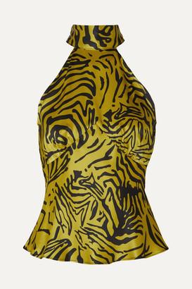De La Vali Vivienne Tiger-print Silk-satin Halterneck Top - Yellow