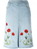 Stella McCartney embroidered denim skirt