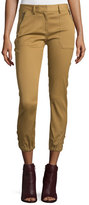 Veronica Beard Dune Cropped Stretch-Cuff Cargo Pants, Beige