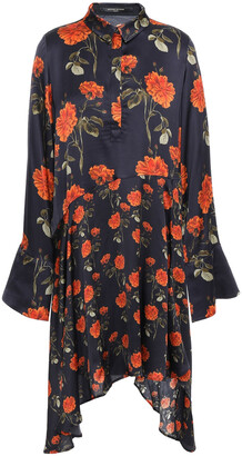 Mother of Pearl April Asymmetric Floral-print Satin Mini Shirt Dress
