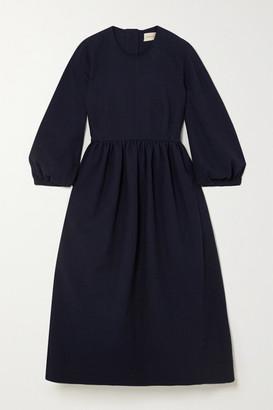 &Daughter + Net Sustain Rosalie Gathered Cotton-jacquard Midi Dress - Navy