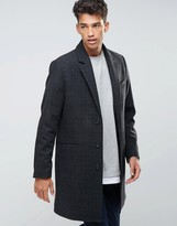 Asos Wool Mix Overcoat In Charcoal Check