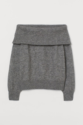 H&M Off-the-shoulder Sweater - Gray