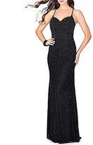 Abbi Vonn by La Femme Sweetheart Neck Spaghetti Strap Open-Back Studded Long Dress
