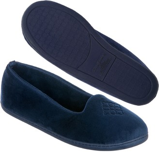 Dearfoams Women's Rebecca Microfiber Velour Closed Back Slipper