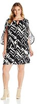 NY Collection Women's Plus Size Printed 3/4 Sleeve Dress Wrap Sleeve with Split Curve Sleeve Hem