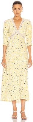 Rixo Gemma Dress in Yellow, White & Black Micro Mod Floral | FWRD