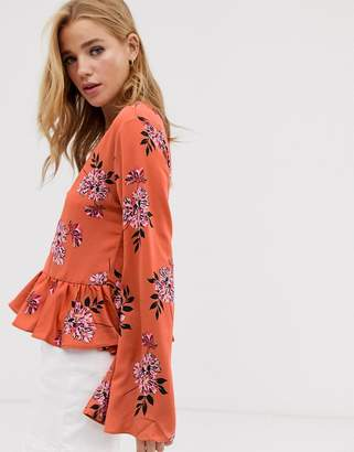 Glamorous floral blouse with frill hem-Multi