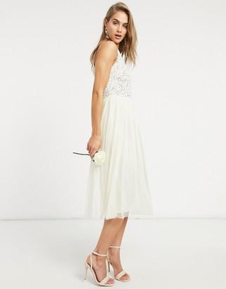 Maya Bridal halterneck midi tulle dress with tonal delicate sequin in ecru
