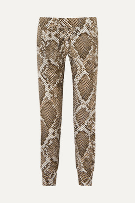 Norma Kamali Striped Snake-print Stretch-jersey Track Pants - Gray