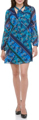 Kensie Floral Tie Neck Long Sleeve Shift Dress