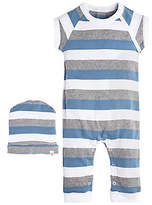 Baby Tri Color Stripe Organic Cotton Coverall and Hat Set