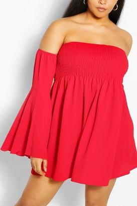 boohoo Plus Shired Off Shoulder Wide Sleeve Shift Dress