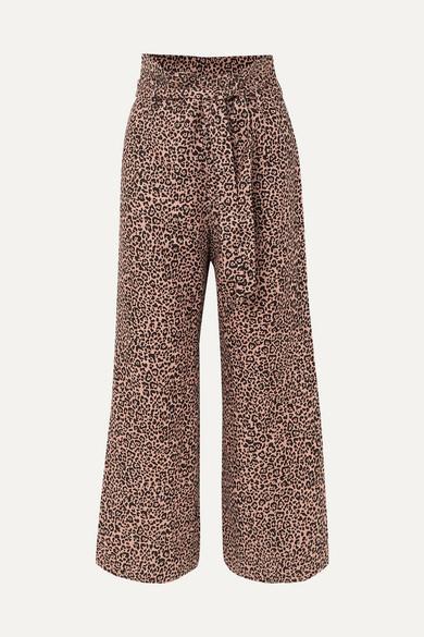 Reformation Jackie Cropped Belted Leopard-print Linen Wide-leg Pants - Leopard print
