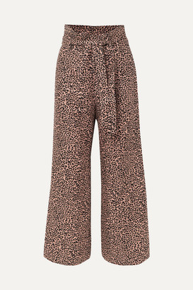 Reformation Jackie Cropped Belted Leopard-print Linen Wide-leg Pants