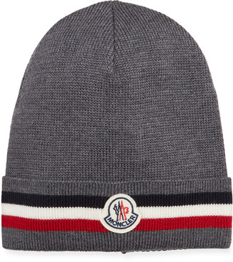 Moncler Men's Soft Knit Tricot Logo Beanie Hat