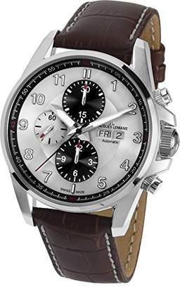 Jacques Lemans Men's Chronograph Swiss-Automatic Watch with Leather Calfskin Strap 1-1750B