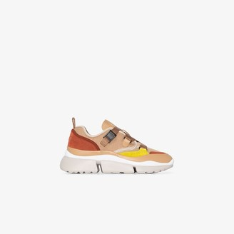 Chloé nude yellow and brown Sonnie leather sneakers