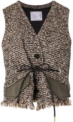 Sacai Cropped Tweed Waistcoat