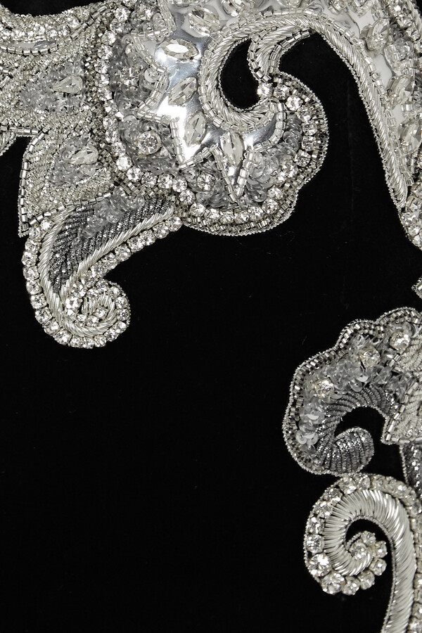 Thumbnail for your product : Balmain Crystal-embellished Cotton-velvet Mini Dress - Black