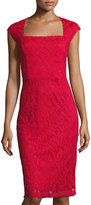 Donna Ricco Sleeveless Lace Sheath Dress, Red