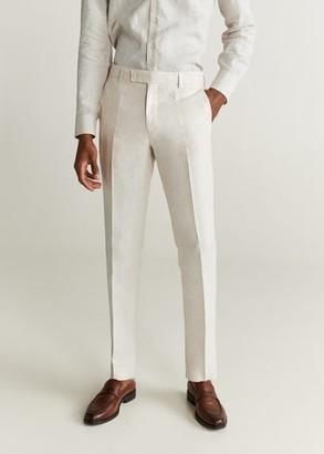 MANGO MAN - Slim fit linen suit pants ecru - 26 - Men