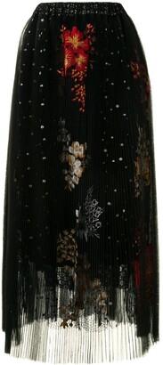 Biyan Embroidered Pleated Midi Skirt