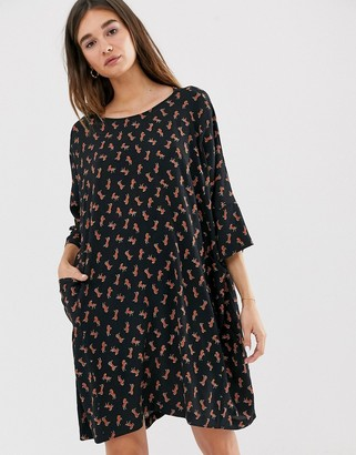 Monki horse print mini smock dress in black