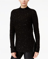 Bar III Faux-Leather-Trim Mock-Neck Sweater, Created for Macy's