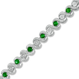 """Zales Lab-Created Emerald and 1/10 CT. T.W. Diamond Tennis Bracelet in Sterling Silver - 7.25"""""""